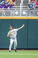 Michigan Wolverines outfielder Jordan Brewer (22) makes a throw from the outfield against the Vanderbilt Commodores during Game 2 of the NCAA College World Series Finals on June 25, 2019 at TD Ameritrade Park in Omaha, Nebraska. Vanderbilt defeated Michigan 4-1. (Andrew Woolley/Four Seam Images)