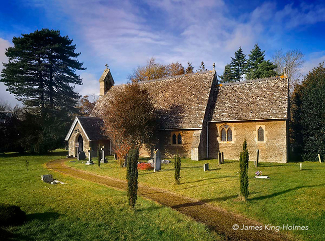 The exterior of St. Lawrence' Curch, Tubney, Oxfordshire. The church was the only Protestant church designed by Augustus Pugin and was consecrated in 1847