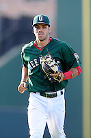 Shortstop Carlos Asuaje (20) of the Greenville Drive in a game against the Savannah Sand Gnats on Sunday, June 22, 2014, at Fluor Field at the West End in Greenville, South Carolina. Greenville won, 7-3. (Tom Priddy/Four Seam Images)