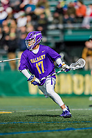 6 April 2019:  University at Albany Great Dane Attacker Jakob Patterson, a Junior from Chandler, AZ, in action against the University of Vermont Catamounts at Virtue Field in Burlington, Vermont. The Cats rallied to defeat the Danes 10-9 in America East divisional play. Mandatory Credit: Ed Wolfstein Photo *** RAW (NEF) Image File Available ***
