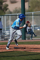 Thomas Sylvester (9) of Detroit Catholic Central High School in Livonia, Michigan during the Baseball Factory All-America Pre-Season Tournament, powered by Under Armour, on January 14, 2018 at Sloan Park Complex in Mesa, Arizona.  (Freek Bouw/Four Seam Images)