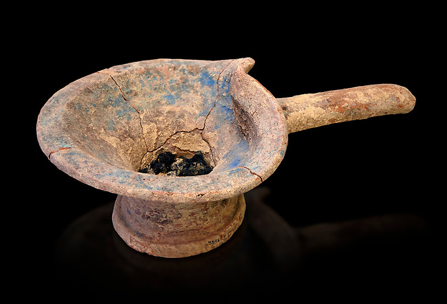 Minoan brazier cult vessel for burning offerings with charcoal,  1400-1350 BC,  Heraklion Archaeological  Museum, black background .<br /> <br /> These brazier cult vessels were used to burn offerings in the chamber tombs for purification