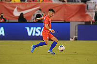 EAST RUTHERFORD, NJ - SEPTEMBER 7: Alfredo Morales #15 of the United States kicks the ball during a game between Mexico and USMNT at MetLife Stadium on September 6, 2019 in East Rutherford, New Jersey.