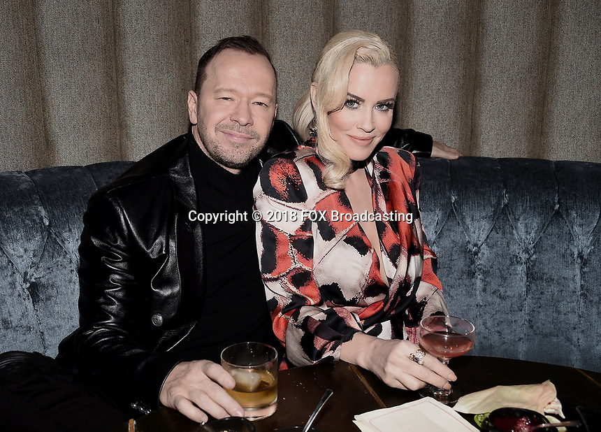 WEST HOLLYWOOD, CA - DECEMBER 13: Donnie Wahlberg and panelist Jenny McCarthy attend the premiere karaoke event for season one of THE MASKED SINGER on Thursday, Dec.13 at The Peppermint Club in West Hollywood, California. (Photo by Scott Kirkland/FOX/PictureGroup)