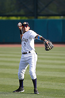 Charleston RiverDogs infielder Angel Aguilar (7) before a game against the Hickory Crawdads at Joseph P. Riley Jr. Ballpark on May 2, 2015 in Charleston, South Carolina. Hickory defeated Charleston 4-1. (Robert Gurganus/Four Seam Images)