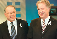 March 31 2003, Montreal, Quebec, Canada<br /> <br /> Bernard Landry, Quebec Premier and Leader of the Parti Quebecois(L) talk with <br /> Jean Charest, Leader of  Quebec Liberal Party<br />  ( Parti LibÈral du QuÈbec) (R) <br /> before  the Televised debate between leaders , March 31 2003 in Montreal, Canada.<br /> <br /> Quebec elections will be held April 14, 2003<br /> <br /> Mandatory Credit: Photo by  Steeve Duguayl- Images Distribution. (©) Copyright 2003 by  Steeve Duguay<br /> <br /> NOTE : <br />  Nikon D-1 jpeg opened with Qimage icc profile, saved in Adobe 1998 RGB<br /> .Uncompressed  Original  size  file availble on request.