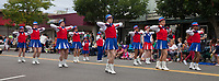 Girls Drill Team wearing red, white & blue outfits, Independence Day Parade 2016, Burien, Washington, USA.