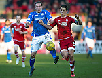 Aberdeen v St Johnstone…27.02.16   SPFL   Pittodrie, Aberdeen<br />Chris Kane and Ryan Jack<br />Picture by Graeme Hart.<br />Copyright Perthshire Picture Agency<br />Tel: 01738 623350  Mobile: 07990 594431