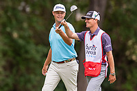 30th May 2021; Fort Worth, Texas, USA;  Patton Kizzire celebrates with his caddie after making birdie on the 8th hole during the final round of the Charles Schwab Challenge on May 30, 2021 at Colonial Country Club in Fort Worth, TX.