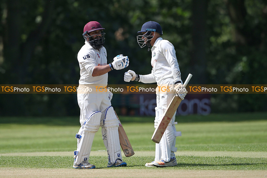 Adnan Akram (L) and Bilal Patel of Wanstead during Wanstead and Snaresbrook CC vs Harold Wood CC, Hamro Foundation Essex League Cricket at Overton Drive on 17th July 2021