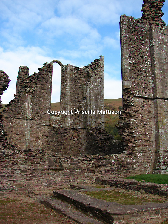 Llanthony, Wales - November 2, 2006:  Walls from the ruins of Llanthony Priory stand tall against the sky.