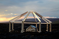 sunset, partial residential structure, Puu Oo vog plume, lava flows near Kalapana, Hawaii, Big Island of Hawaii