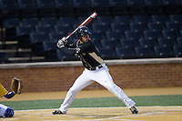 Bruce Steel (17) of the Wake Forest Demon Deacons at bat against the Delaware Blue Hens at Wake Forest Baseball Park on February 13, 2015 in Winston-Salem, North Carolina.  The Demon Deacons defeated the Blue Hens 3-2.  (Brian Westerholt/Four Seam Images)