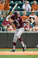 Texas A&M Aggies designated hitter Matt Juengel #17 at bat against the Texas Longhorns in NCAA Big XII Conference baseball on May 21, 2011 at Disch Falk Field in Austin, Texas. (Photo by Andrew Woolley / Four Seam Images)