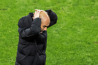 14th April 2021; Induna Park, Dortmund, Germany; UEFA Champions League Football quarter-final, Borussia Dortmund versus Manchester City; Head coach Josep Guardiola Manchester disappointed as his team go behind to an early goal