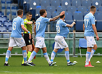 Football, Serie A: S.S. Lazio - Spezia, Olympic stadium, Rome, April 3, 2021. <br /> Lazio's Manuel Lazzari (second R) celebrates after scoring with his teammates during the Italian Serie A football match between S.S. Lazio and Spezia at Rome's Olympic stadium, Rome, on April 3, 2021.  <br /> UPDATE IMAGES PRESS/Isabella Bonotto