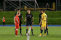 Match referee Christopher Pottier (M), Woluwe's captain Jana Simons (L) and Standard's captain Maurane Marinucci (7) pictured during coin flip before a female soccer game between FC Femina WS Woluwe and Standard Femina de Liege on the fourth match day of the 2020 - 2021 season of Belgian Womens Super League , Friday 8th of October 2020  in Liege , Belgium . PHOTO SPORTPIX.BE | SPP | SEVIL OKTEM