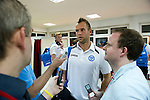 St Johnstone v Eskisehirspor....19.07.12  Uefa Cup Qualifyer.Keeper Alan Mannus talks with reporters at the airport in Turkey before boarding the flight back to Edinburgh..Picture by Graeme Hart..Copyright Perthshire Picture Agency.Tel: 01738 623350  Mobile: 07990 594431