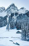 Austria, Upper Austria, Salzkammergut, Gosau: winter scenery at Gosau Lake with Gosau Kamm mountains   Oesterreich, Oberoesterreich, Salzkammergut, Gosau: Winterlandschaft am vorderen Gosausee vorm Gosaukamm