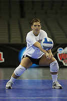 Omaha, NE - DECEMBER 20:  Libero Gabi Ailes #9 of the Stanford Cardinal during Stanford's 2008 NCAA Division I Women's Volleyball Final Four Championship closed practice before playing the Penn State Nittany Lions on December 20, 2008 at the Qwest Center in Omaha, Nebraska.