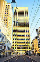 Buffalo: Marine Midland Center, 1969-1974. (Buffalo's tallest building) Main St. at Seneca St.  S-O-M (San Francisco office.) Photo '88.