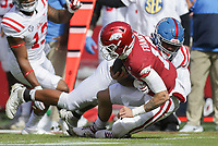 Ole Miss defensive lineman Ryder Anderson (89) tackles Arkansas quarterback Feleipe Franks (13), Saturday, October 17, 2020 during the first quarter of a football game at Donald W. Reynolds Razorback Stadium in Fayetteville. Check out nwaonline.com/201018Daily/ for today's photo gallery. <br /> (NWA Democrat-Gazette/Charlie Kaijo)