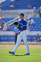 Toronto Blue Jays pitcher Ryan Borucki (56) during a Major League Spring Training game against the Pittsburgh Pirates on March 1, 2021 at TD Ballpark in Dunedin, Florida.  (Mike Janes/Four Seam Images)