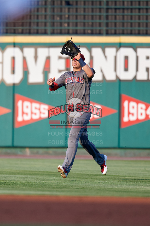 Lehigh Valley IronPigs right fielder Joey Meneses (38) settles under a fly ball during a game against the Rochester Red Wings on June 30, 2018 at Frontier Field in Rochester, New York.  Lehigh Valley defeated Rochester 6-2.  (Mike Janes/Four Seam Images)