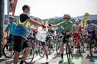 Wout Van Aert (BEL/Jumbo-Visma) getting rid of his face mask at the race start in Megève<br /> <br /> Stage 5: Megève to Megève (154km)<br /> 72st Critérium du Dauphiné 2020 (2.UWT)<br /> <br /> ©kramon