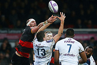 Rynard Landman of Dragons contends for the loose ball with Pablo Uberti of Bordeaux Begles during the European Challenge Cup match between Dragons and Bordeaux Begles at Rodney Parade, Newport, Wales, UK. 20 January 2018