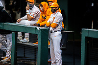 Tennessee Volunteers coach Tony Vitello watches on from the dugout against the LSU Tigers on Robert M. Lindsay Field at Lindsey Nelson Stadium on March 27, 2021, in Knoxville, Tennessee. (Danny Parker/Four Seam Images)