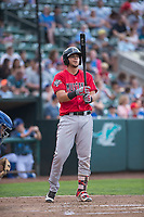 Billings Mustangs catcher Pabel Manzanero (47) at bat during a Pioneer League game against the Ogden Raptors at Lindquist Field on August 17, 2018 in Ogden, Utah. The Billings Mustangs defeated the Ogden Raptors by a score of 6-3. (Zachary Lucy/Four Seam Images)