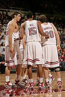 5 January 2006:Peter Prowitt, Lawrence Hill and Dan Grunfeld during the Stanford Cardinal's 80-66 win over the Oregon State Beavers at Maples Pavilion in Stanford, CA.