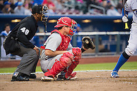Cody Stanley (21) of the Memphis Redbirds on defense against the Omaha Storm Chasers in Pacific Coast League action at Werner Park on April 24, 2015 in Papillion, Nebraska.  (Stephen Smith/Four Seam Images)