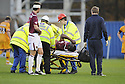 31/10/2009  Copyright  Pic : James Stewart.sct_jspa16_motherwell_v_hearts  . :: CHRISTIAN NADE IS CARRIED OFF :: .James Stewart Photography 19 Carronlea Drive, Falkirk. FK2 8DN      Vat Reg No. 607 6932 25.Telephone      : +44 (0)1324 570291 .Mobile              : +44 (0)7721 416997.E-mail  :  jim@jspa.co.uk.If you require further information then contact Jim Stewart on any of the numbers above.........