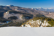 Mount Chocorua covered in snow from Boulder Loop Trail in the White Mountains, New Hampshire USA.