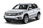 2016 Volkswagen Tiguan 2.0T-R-Line 5 Door SUV Angular Front stock photos of front three quarter view