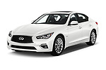 2018 Infiniti Q50 LUXE 4 Door Sedan Angular Front stock photos of front three quarter view