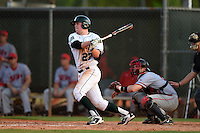 Dartmouth Big Green first baseman Michael Ketchmark (27) at bat in front of catcher Jarett Rindfleisch during a game against the Ball State Cardinals on March 7, 2015 at North Charlotte Regional Park in Port Charlotte, Florida.  Ball State defeated Dartmouth 7-4.  (Mike Janes/Four Seam Images)