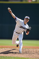 Winston-Salem Dash starting pitcher James Dykstra (18) in action against the Carolina Mudcats at BB&T Ballpark on April 22, 2015 in Winston-Salem, North Carolina.  The Dash defeated the Mudcats 4-2..  (Brian Westerholt/Four Seam Images)