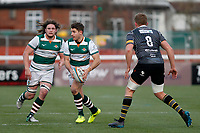 Laurence May of Ealing Trailfinders on the ball during the Championship Cup Quarter Final match between Ealing Trailfinders and Nottingham Rugby at Castle Bar , West Ealing , England  on 2 February 2019. Photo by Carlton Myrie / PRiME Media Images.