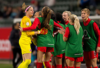 CARSON, CA - FEBRUARY 07: GK Stephanie Labbe #1 of Canada celebrates a goal with a run over to the sideline during a game between Canada and Costa Rica at Dignity Health Sports Complex on February 07, 2020 in Carson, California.