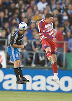 Eric Denton, left, heads the ball in back of Kenny Cooper, right. .The San Jose Earthquakes tied FC Dallas 0-0, at Buck Shaw Stadium, in Santa Clara, California, Saturday, May 3, 2008. .