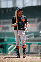 GCL Orioles first baseman Juan Montes (9) at bat during a game against the GCL Red Sox on August 9, 2018 at JetBlue Park in Fort Myers, Florida.  GCL Red Sox defeated GCL Orioles 10-4.  (Mike Janes/Four Seam Images)