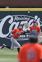Auburn outfielder Kason Howell (5) makes a catch, Saturday, April 3, 2021 during the second inning of a baseball game at Baum-Walker Stadium in Fayetteville. Check out nwaonline.com/210404Daily/ for today's photo gallery. <br /> (NWA Democrat-Gazette/Charlie Kaijo)