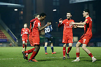 Own goal but O's players congratulate Tunji  Akinola as he put the cross in during Leyton Orient vs Morecambe, Sky Bet EFL League 2 Football at The Breyer Group Stadium on 16th January 2021