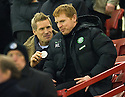 CELTIC MANAGER NEIL LENNON AND ASSISTANT MANAGER JOHAN MJALLBY TAKE A SEAT IN THE STAND