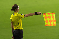 ORLANDO, FL - JANUARY 22: The assistant referee signals offside during a game between Colombia and USWNT at Exploria stadium on January 22, 2021 in Orlando, Florida.