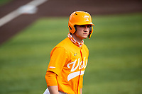 Tennessee Volunteers left fielder Evan Russell (4) jogs to first base as a home run sails over the fence against the Vanderbilt Commodores on Robert M. Lindsay Field at Lindsey Nelson Stadium on April 17, 2021, in Knoxville, Tennessee. (Danny Parker/Four Seam Images)