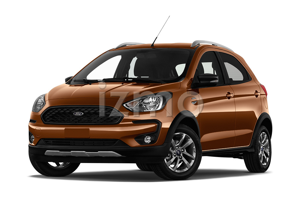 Stock pictures of low aggressive front three quarter view of a 2019 Ford KA + Active 5 Door Hatchback